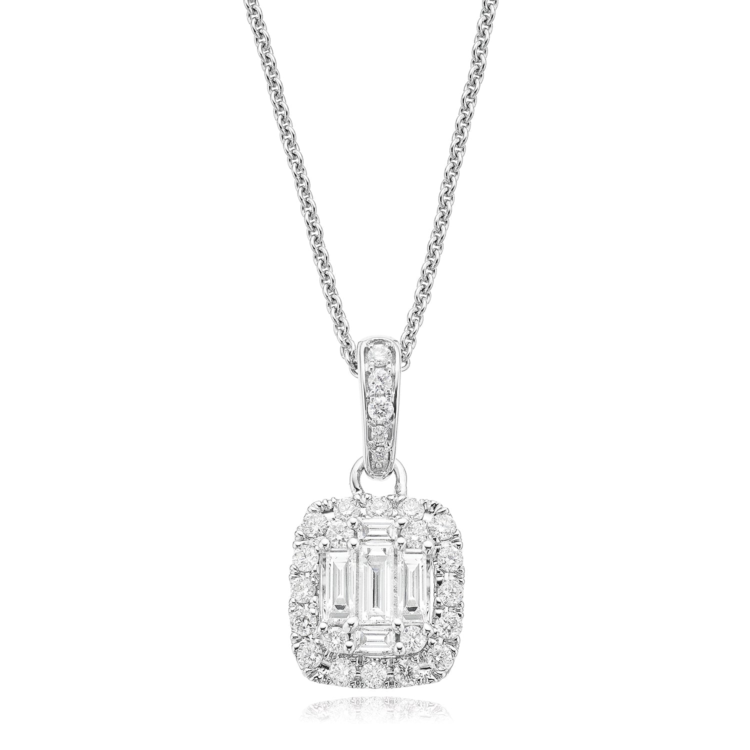 18ct White Gold Emerald & Round Brilliant Cut with 0.55 CARAT tw of Diamond Pendant