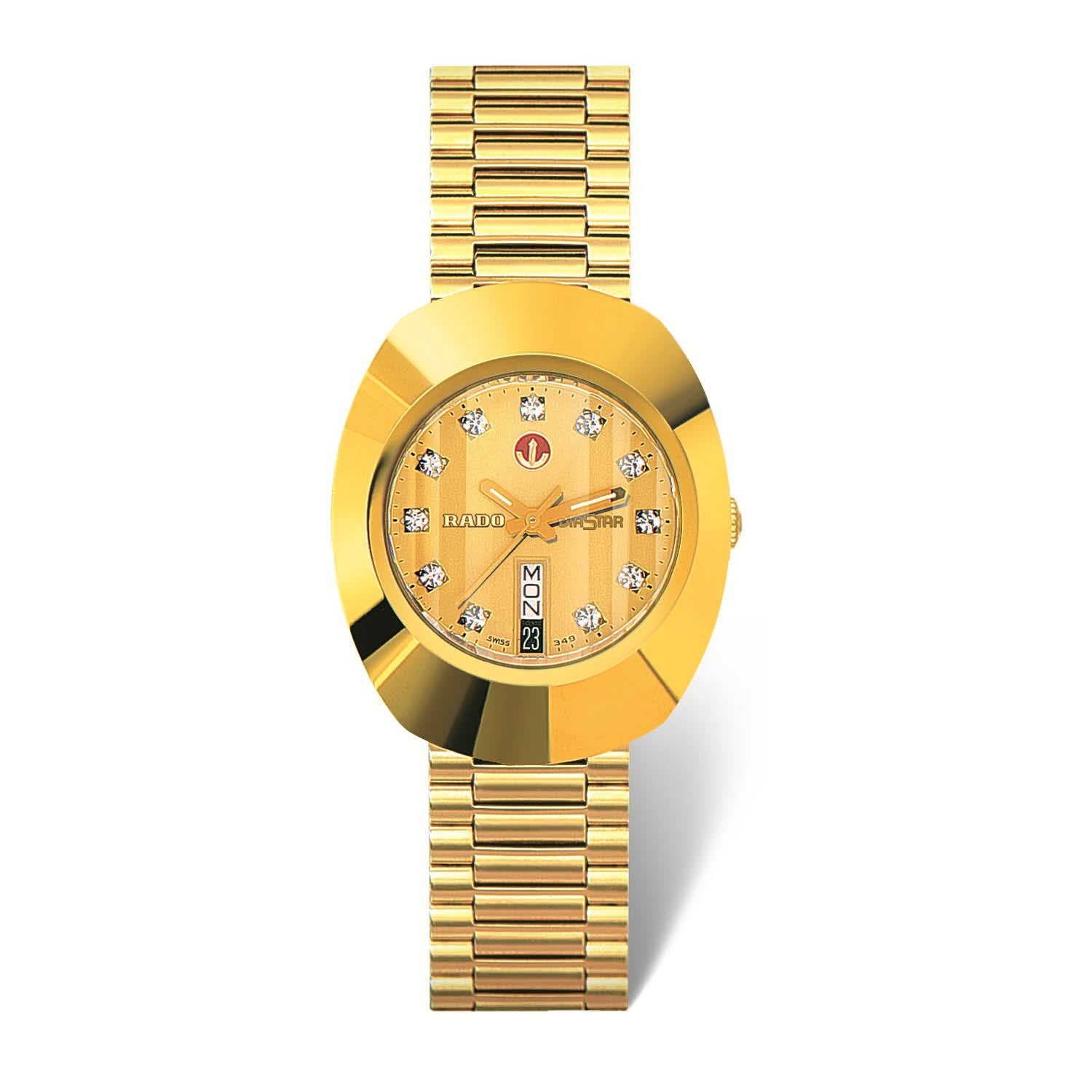 RADO Original large watch, yellow gold PVD bracelet and CVD-coated hard metal R12413493