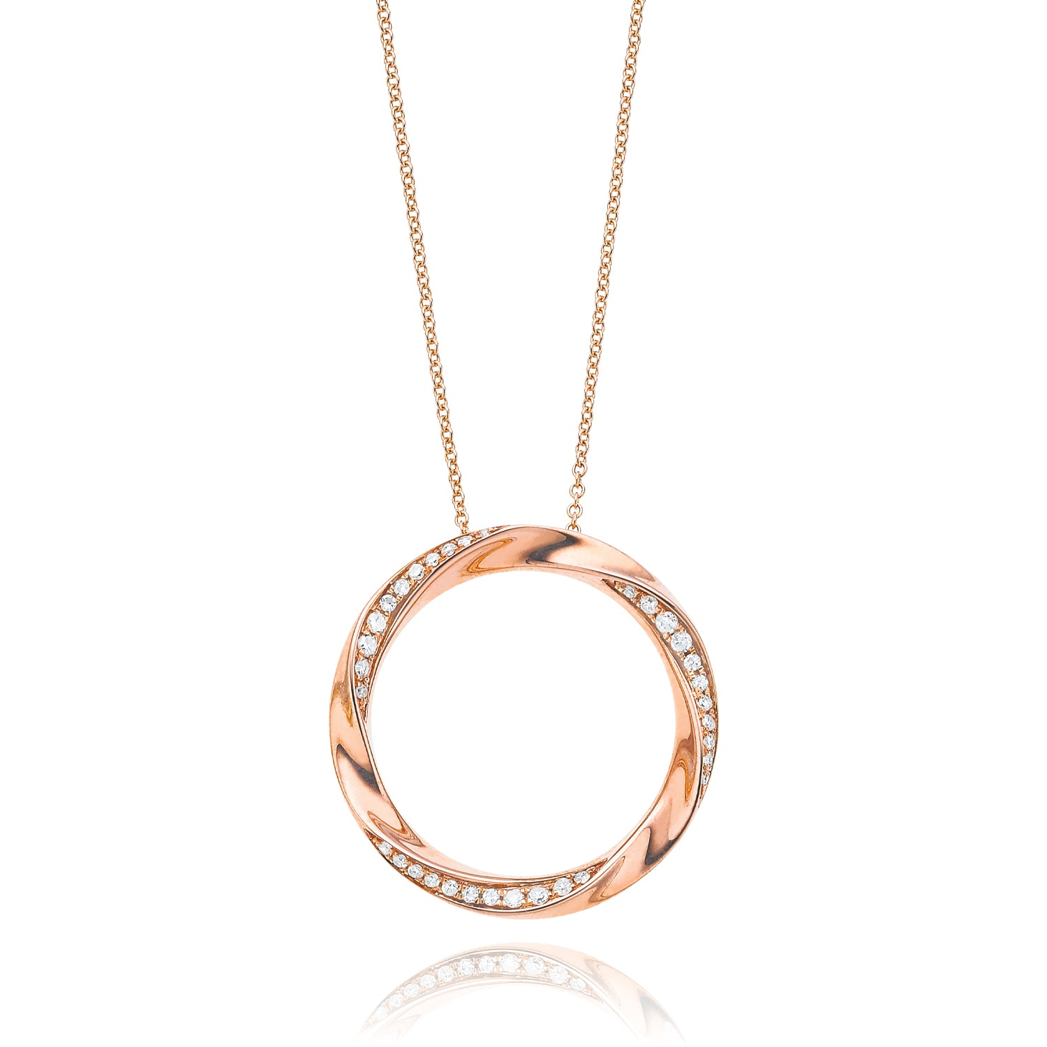 9ct Rose Gold Round Brilliant Cut with 0.15 CARAT tw of Diamond Pendant