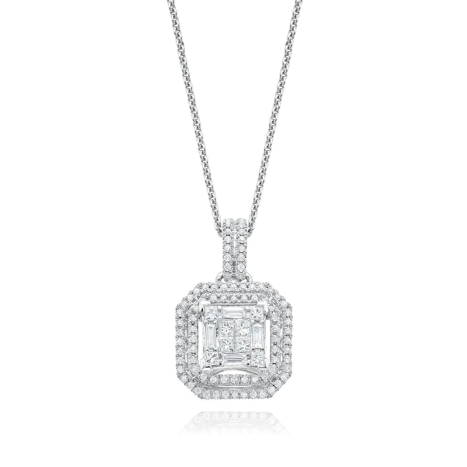 9ct White Gold Princess, Round Brilliant & Baguette Cut with 1/2 CARAT tw of Diamond Pendant