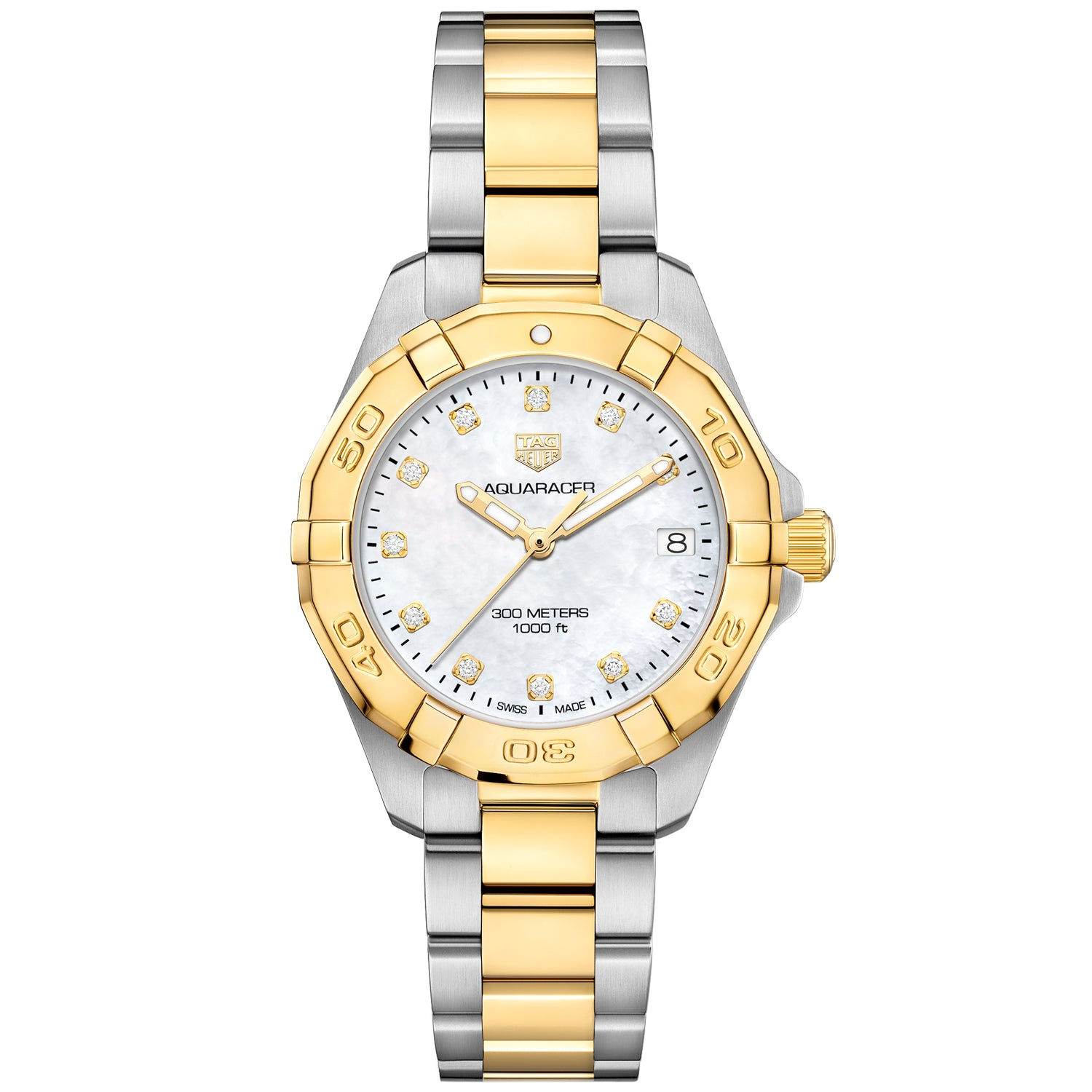 TAG Heuer Aquaracer Quartz Ladies Mother of Pearl Steel & Yellow Gold Coating Watch WBD1322.BB0320