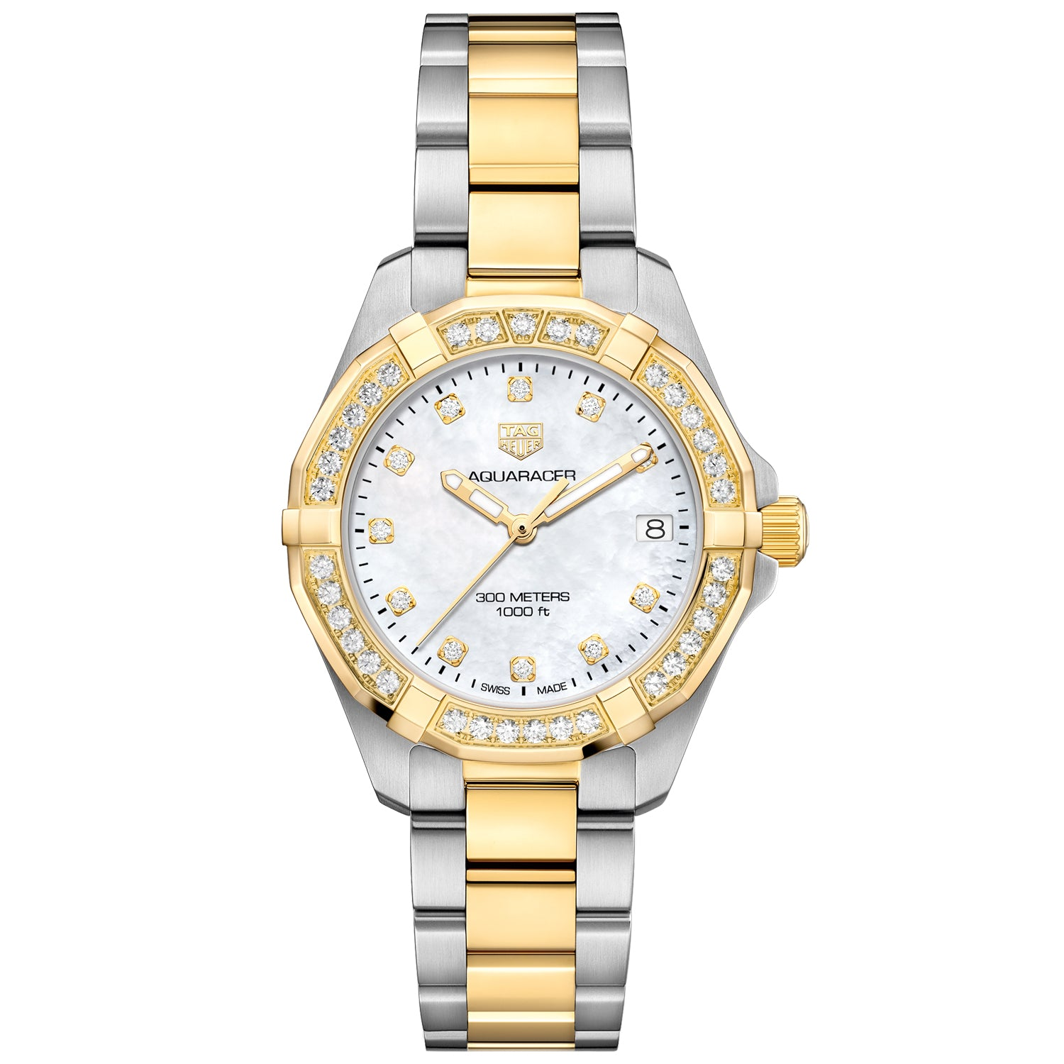 TAG Heuer Aquaracer Quartz Ladies Mother of Pearl Steel & Yellow Gold Coating Watch WBD1323.BB0320