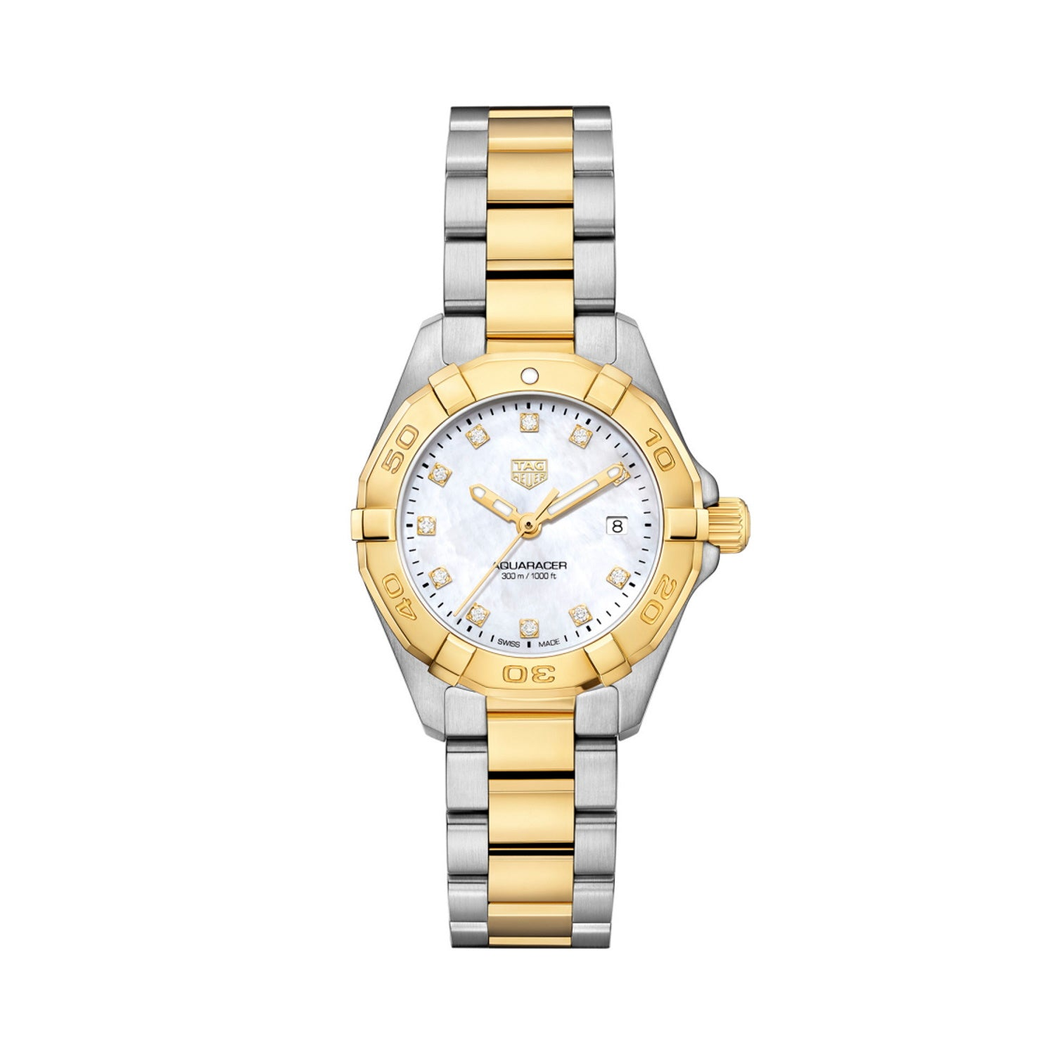 TAG Heuer Aquaracer Quartz Ladies Mother of Pearl Steel & Yellow Gold Coating Watch WBD1422.BB0321