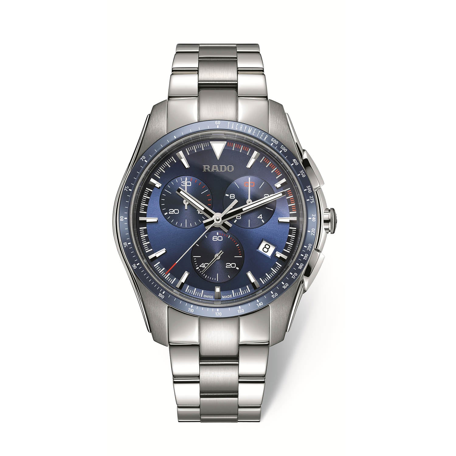 RADO HyperChrome Xxlarge watch, stainless steel case and bracelet with blue high tech ceramic bezel, chronograph R32259203