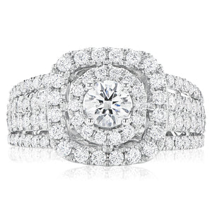 Halo 18ct White Gold Round Brilliant Cut with 1 1/2 CARAT tw of Diamonds