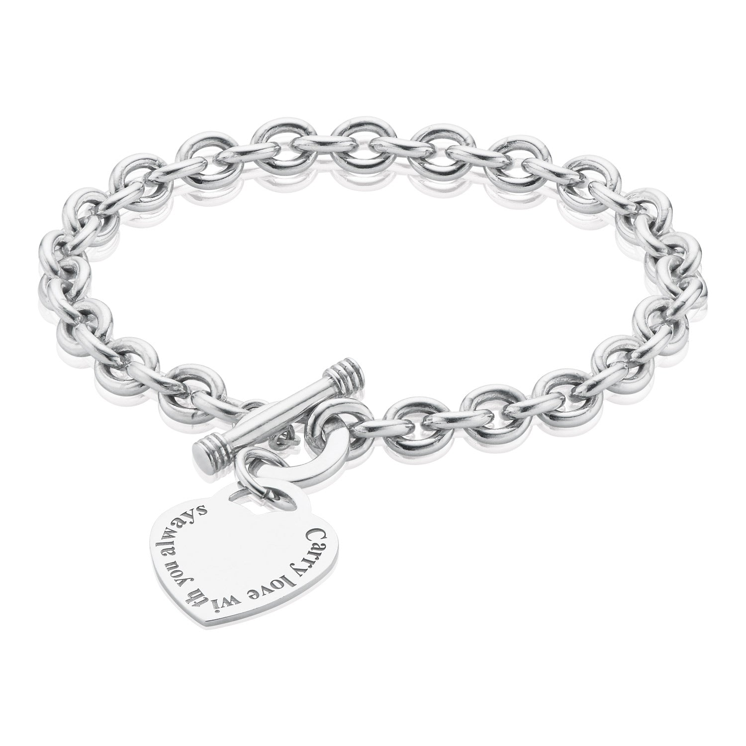 Sterling Silver 20cm Carry Love with You Always T-Bar Bracelet