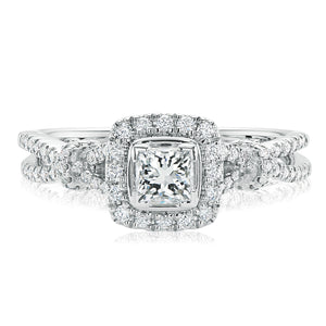 Forevermark 18ct White Gold Princess & Round Brilliant Cut with 3/4 CARAT tw of Diamonds