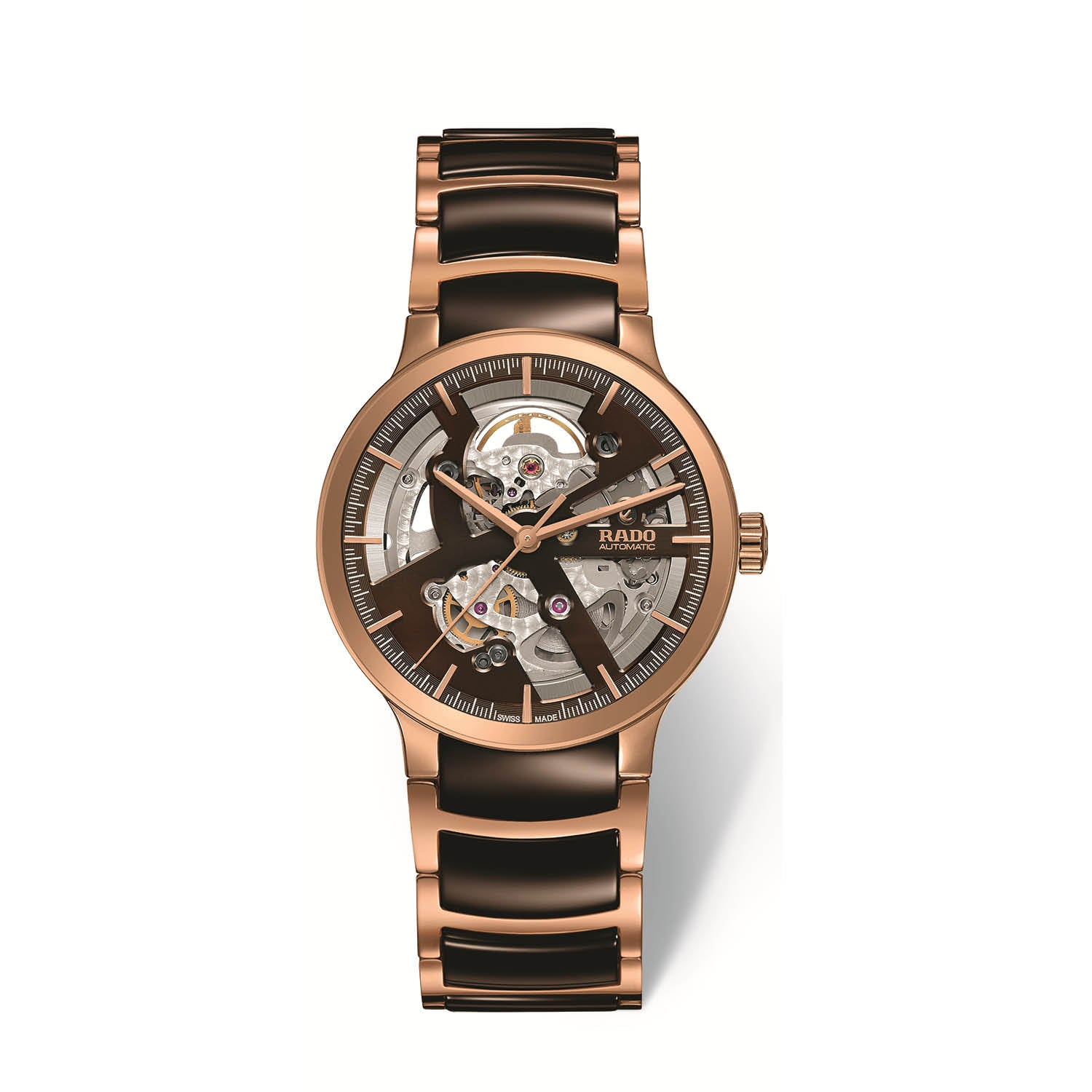 RADO Centrix skeleton watch, rose gold PVD bracelet with brown high tech ceramic middle links R30181312