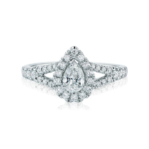 Halo 18ct White Gold Pear & Round Brilliant Cut with 1.65 CARAT tw of Diamonds