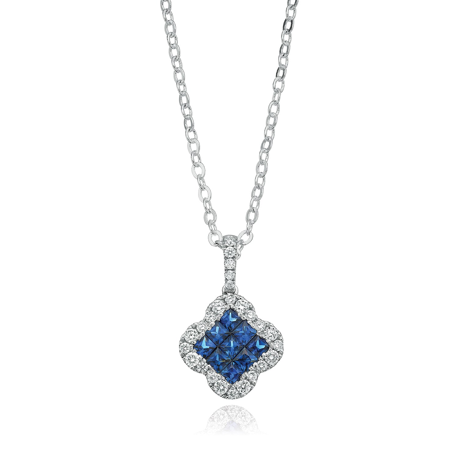 9ct White Gold Princess Cut Sapphire with 1/4 CARAT tw of Diamond Pendant