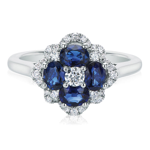 9ct White Gold Round Brilliant Cut Sapphire with 1/3 CARAT tw of Diamonds