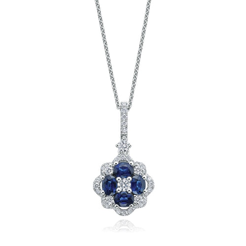 9ct White Gold Round Brilliant Cut Sapphire with 1/2 CARAT tw of Diamond Pendant