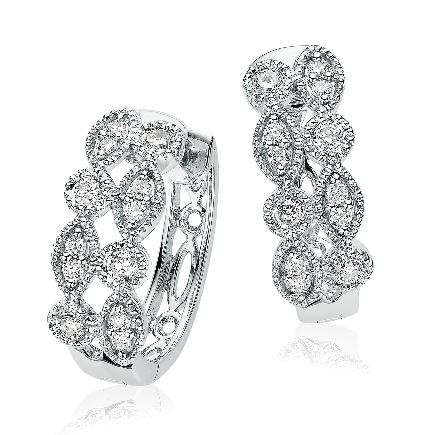 9ct White Gold Round Brilliant Cut with 0.30 CARAT tw of Diamonds Earrings
