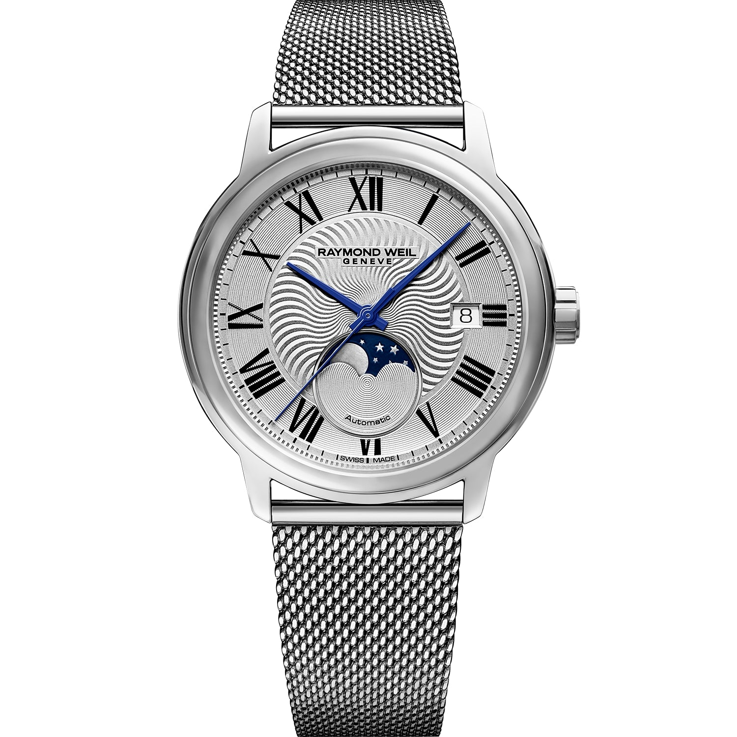 Maestro Moon Phase Men's Automatic Silver Mesh Steel Watch 2239M-ST-00659