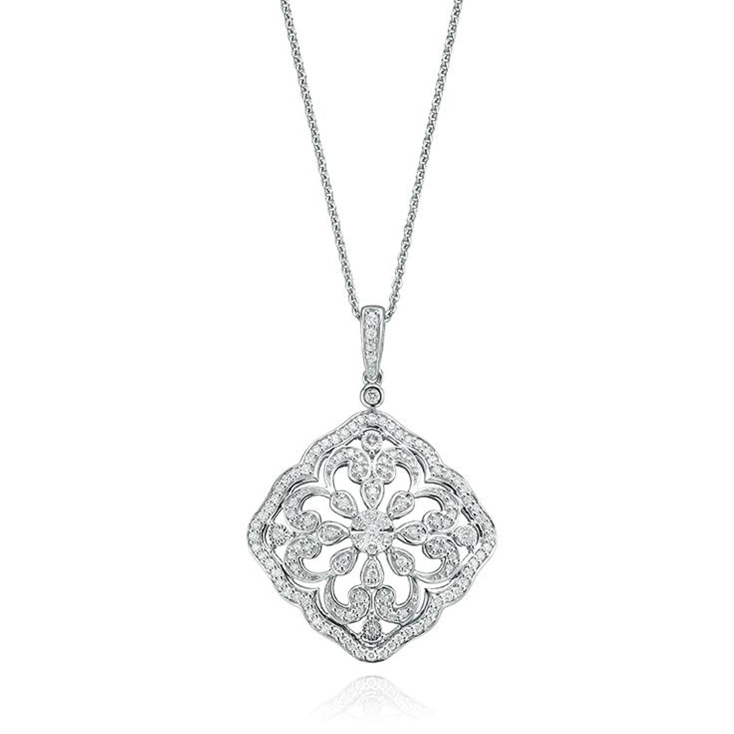 Chandelier Collection 9ct White Gold Round Brilliant Cut with 0.40 CARAT tw of Diamond Pendant