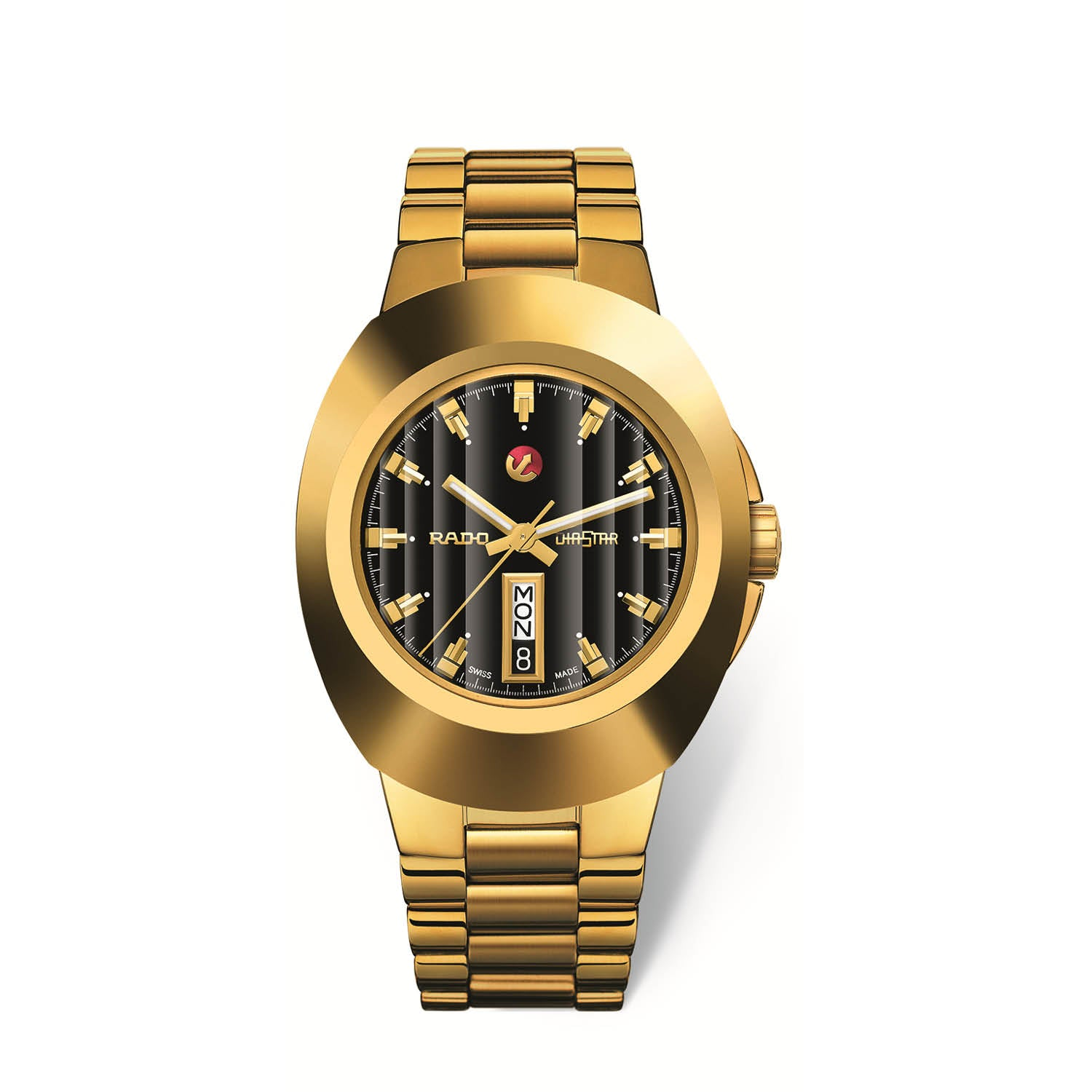 RADO Original XL watch, black dial, yellow gold PVD bracelet and CVD-coated hard metal case with D-Date R12999153