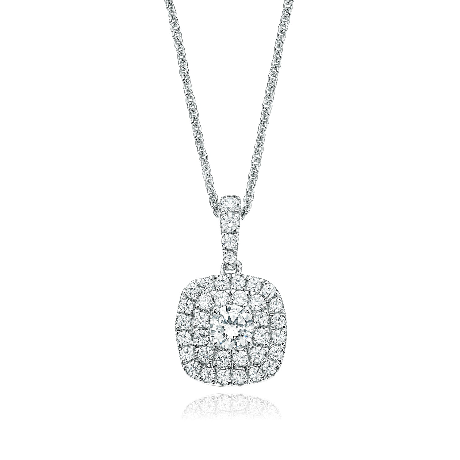Rand 18ct White Gold Round Brilliant Cut with 0.65 CARAT tw of Diamond Pendant
