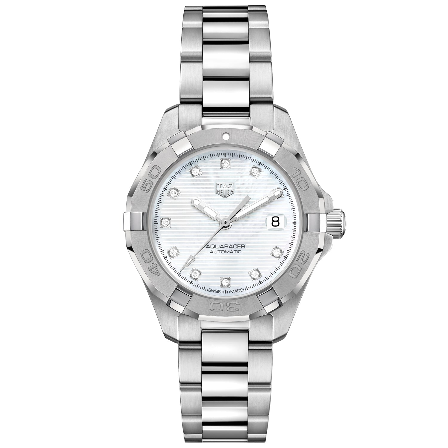TAG Heuer Aquaracer Calibre 9 Automatic Ladies White Steel Watch WBD2313.BA0740
