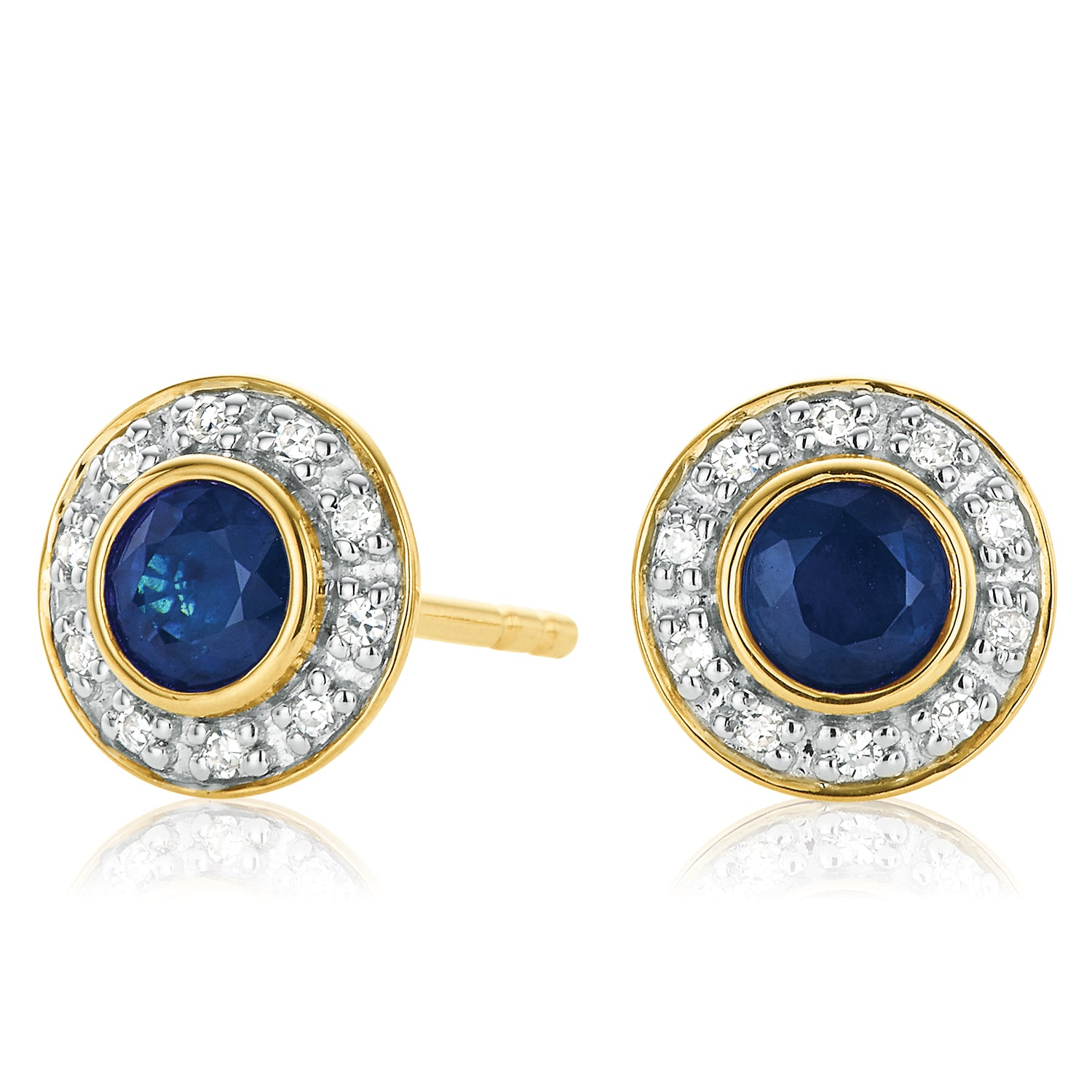 9ct Yellow Gold Round Brilliant Cut Sapphire Diamond Set