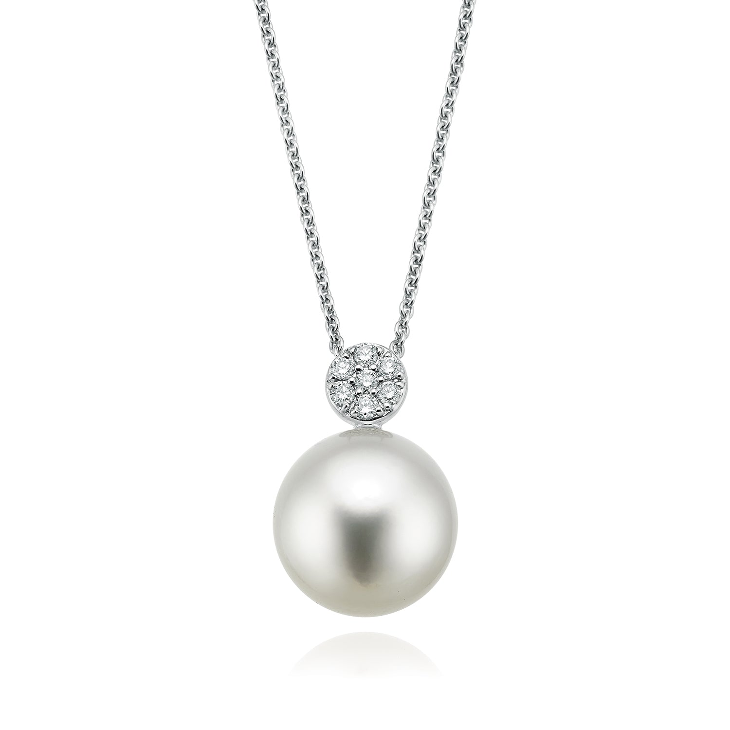 18ct White Gold 11mm South Sea Pearl with Diamond Set