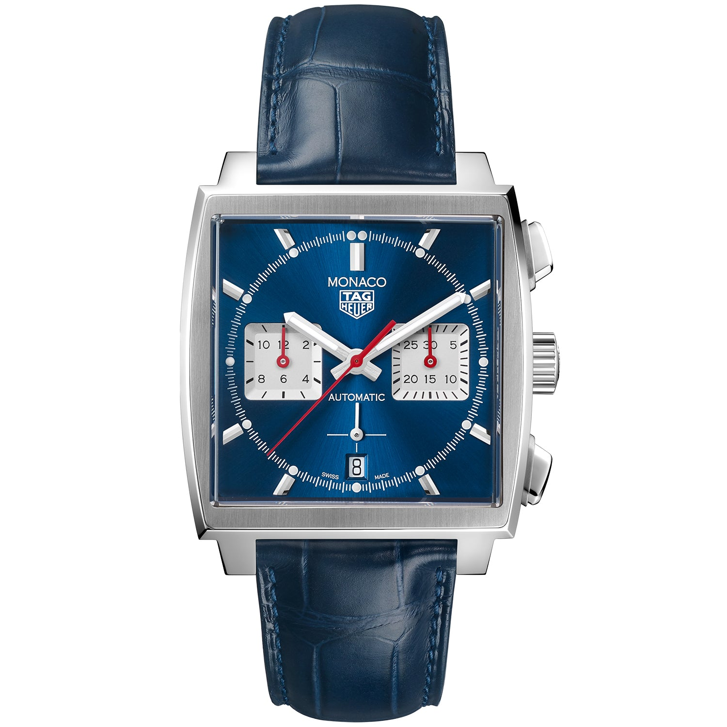 TAG Heuer Monaco Heuer 02 Automatic Mens Blue Leather Chronograph CBL2111.FC6453