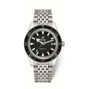 RADO Captain Cook Xlarge watch, Black dial with black high-tech ceramic bezel, 7-row polished and brushed stainless steel rice grain bracelet R32505153
