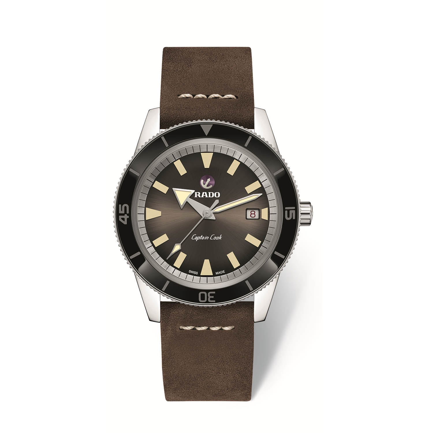 RADO Captain Cook Xlarge watch, Brown high-tech ceramic bezel, brown leather bracelet R32505305