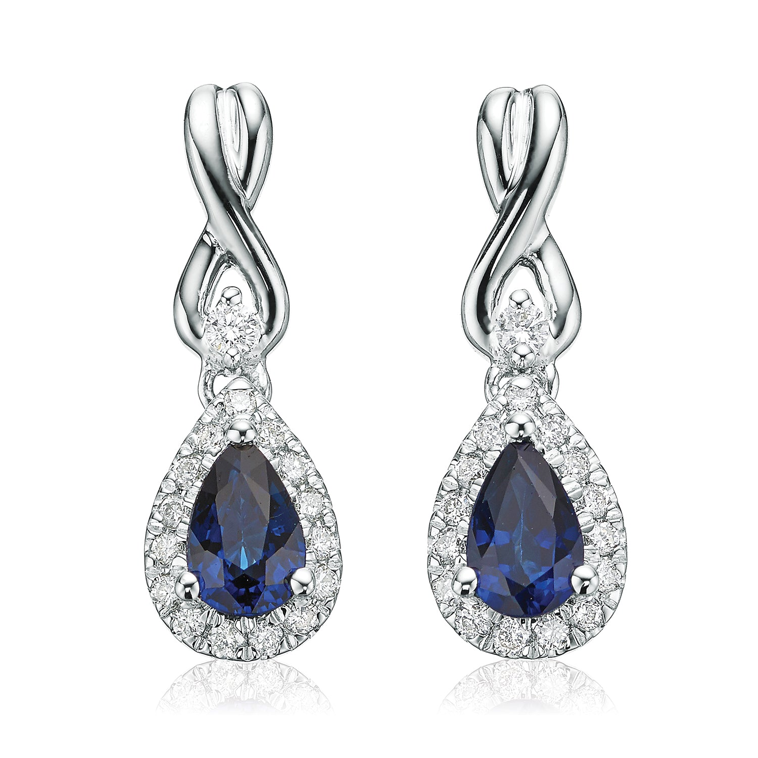 Vera Wang Love 18ct White Gold Pear Cut Sapphire with 0.16 CARAT tw of Diamonds