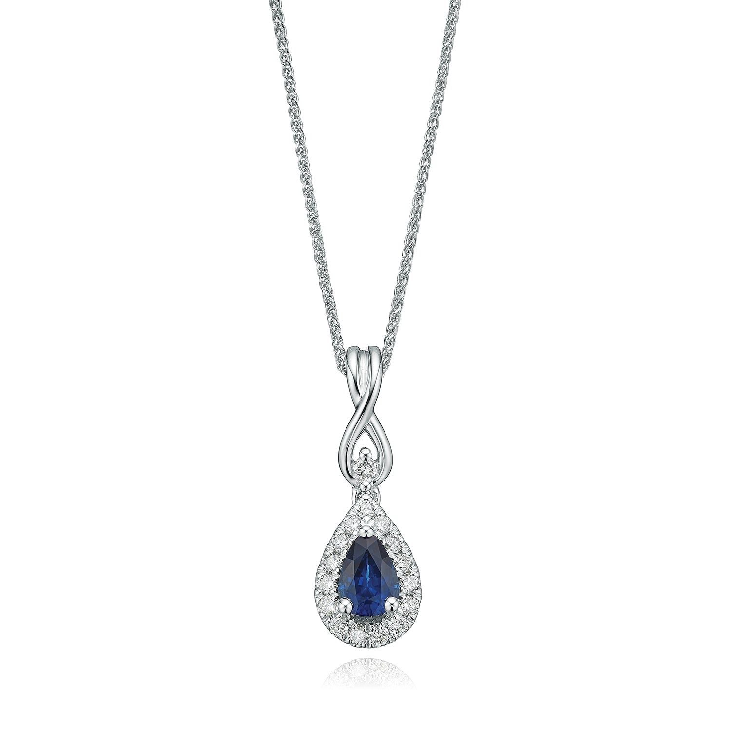 Vera Wang Love 18ct White Gold Pear Cut Sapphire with 0.16 CARAT tw of Diamond Pendant