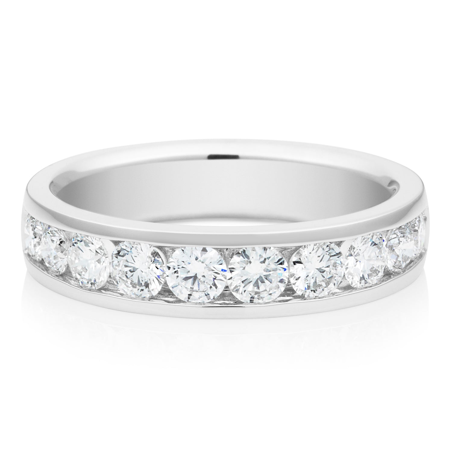 Promise Wedding Band 18ct White Gold Round Brilliant Cut with 1 CARAT tw of Diamonds