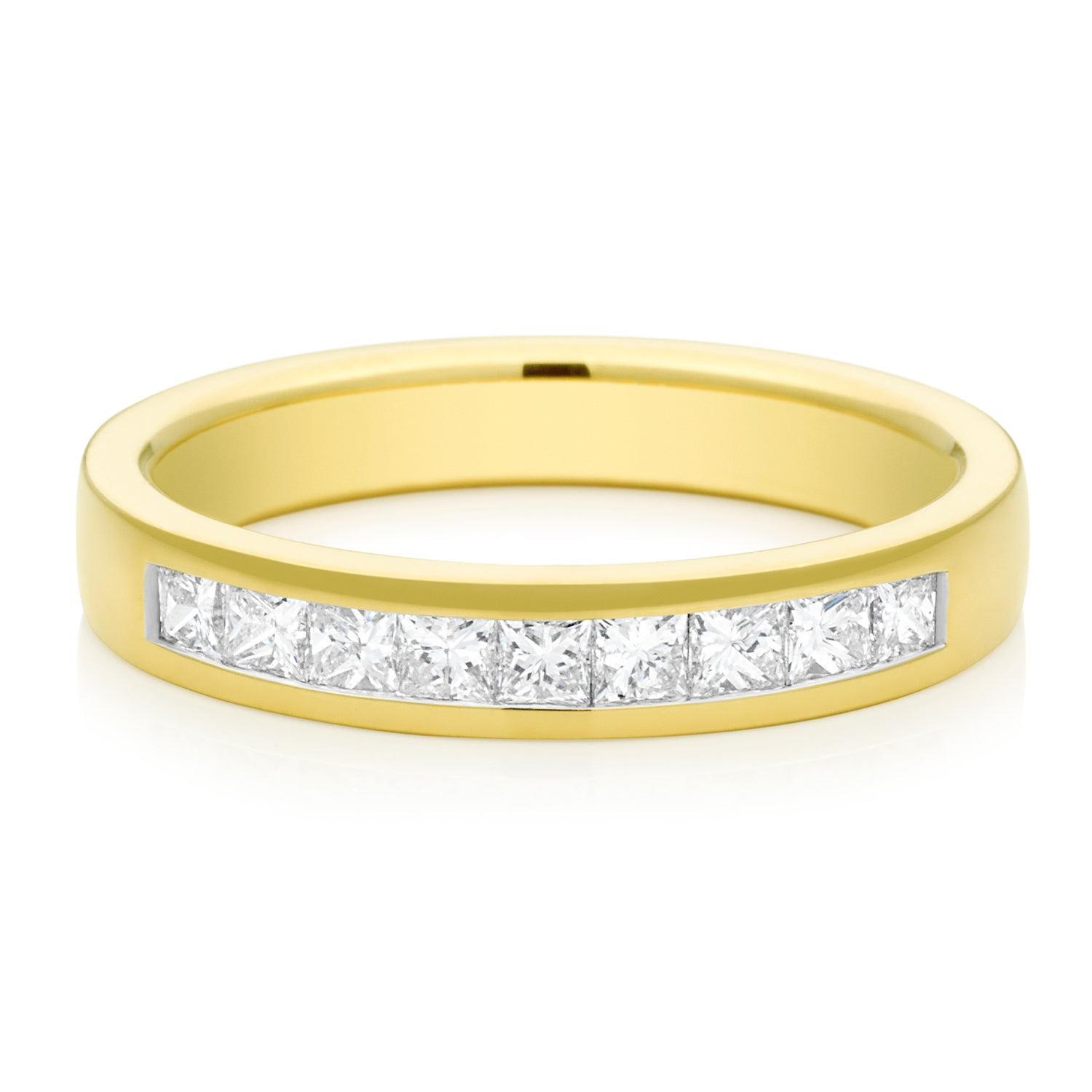 Promise Wedding Band 18ct Yellow Gold Princess Cut with 1/2 CARAT tw of Diamonds