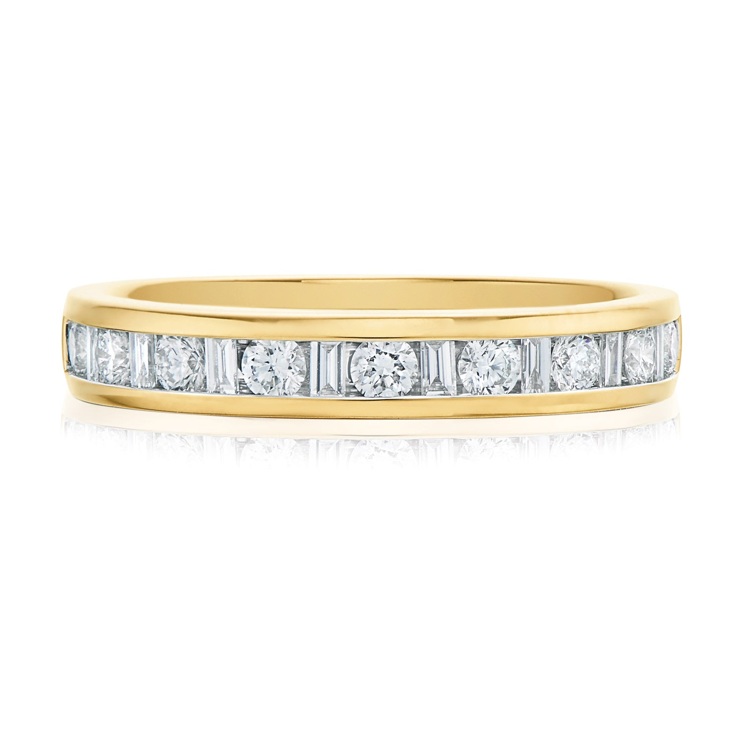 Promise Wedding Band 18ct Yellow Gold Round Brillant & Baguette Cut with 1/2 CARAT tw of Diamonds