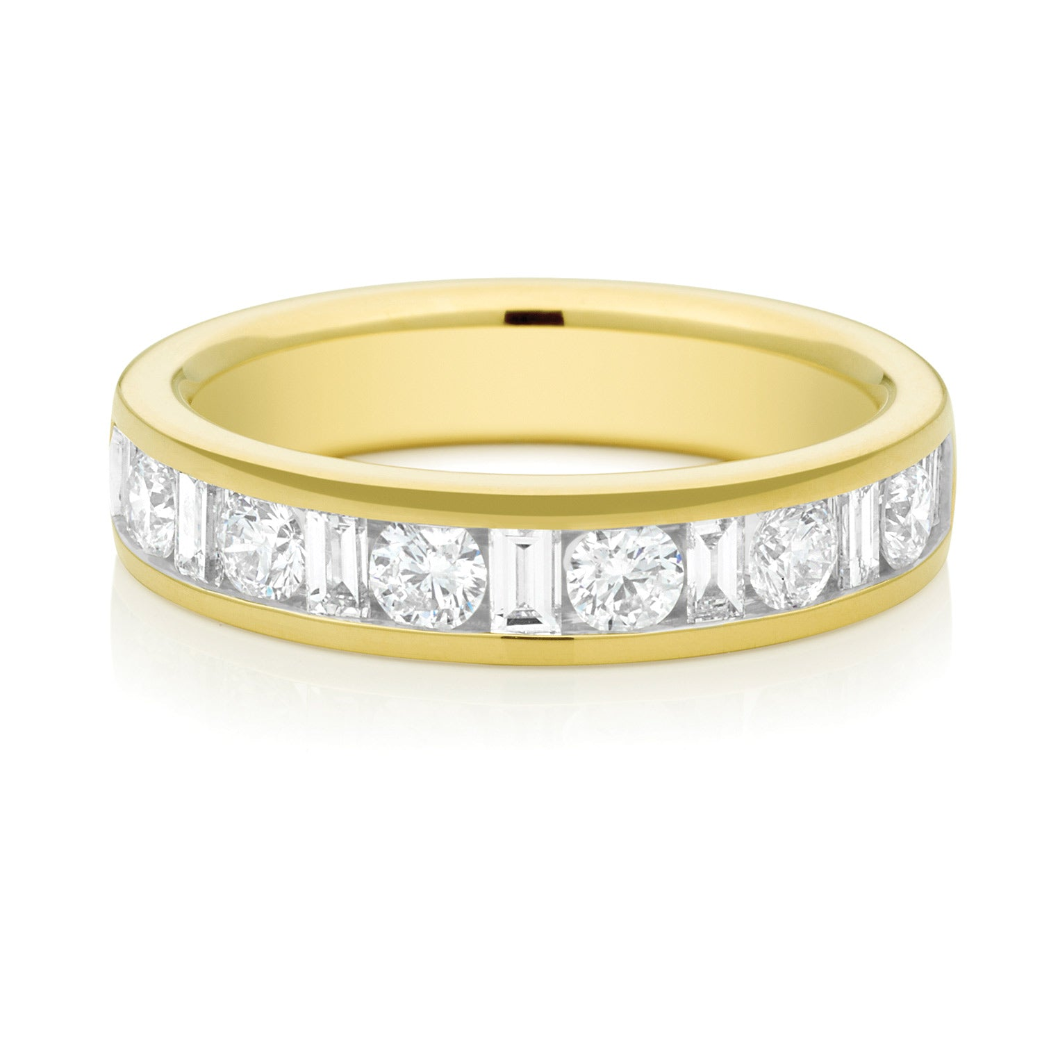 Promise Wedding Band 18ct Yellow Gold Round Brillant & Baguette Cut with 1 CARAT tw of Diamonds