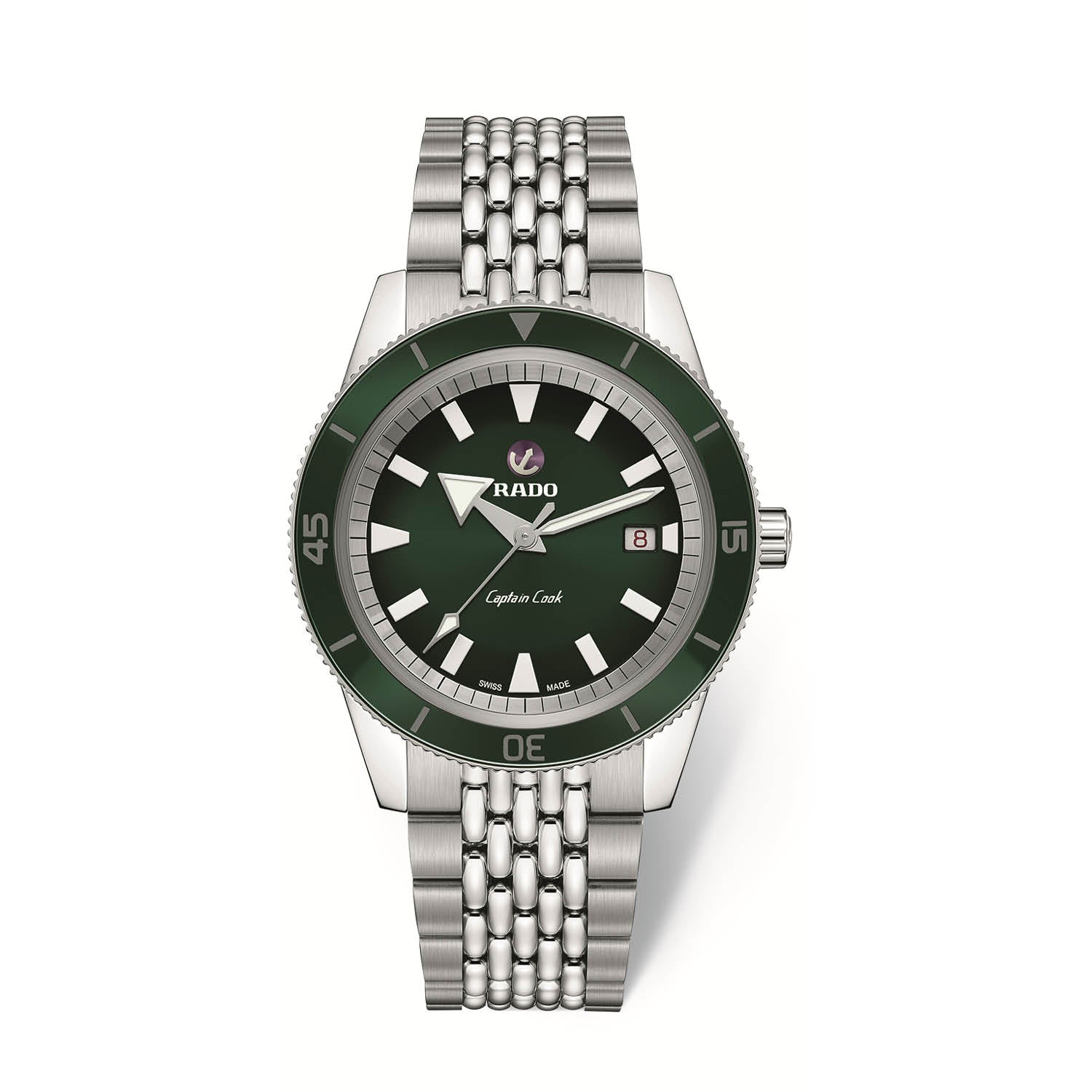 RADO Captain Cook Xlarge watch, green dial with green high-tech ceramic bezel, 7-row polished and brushed stainless steel rice grain bracelet R32505313