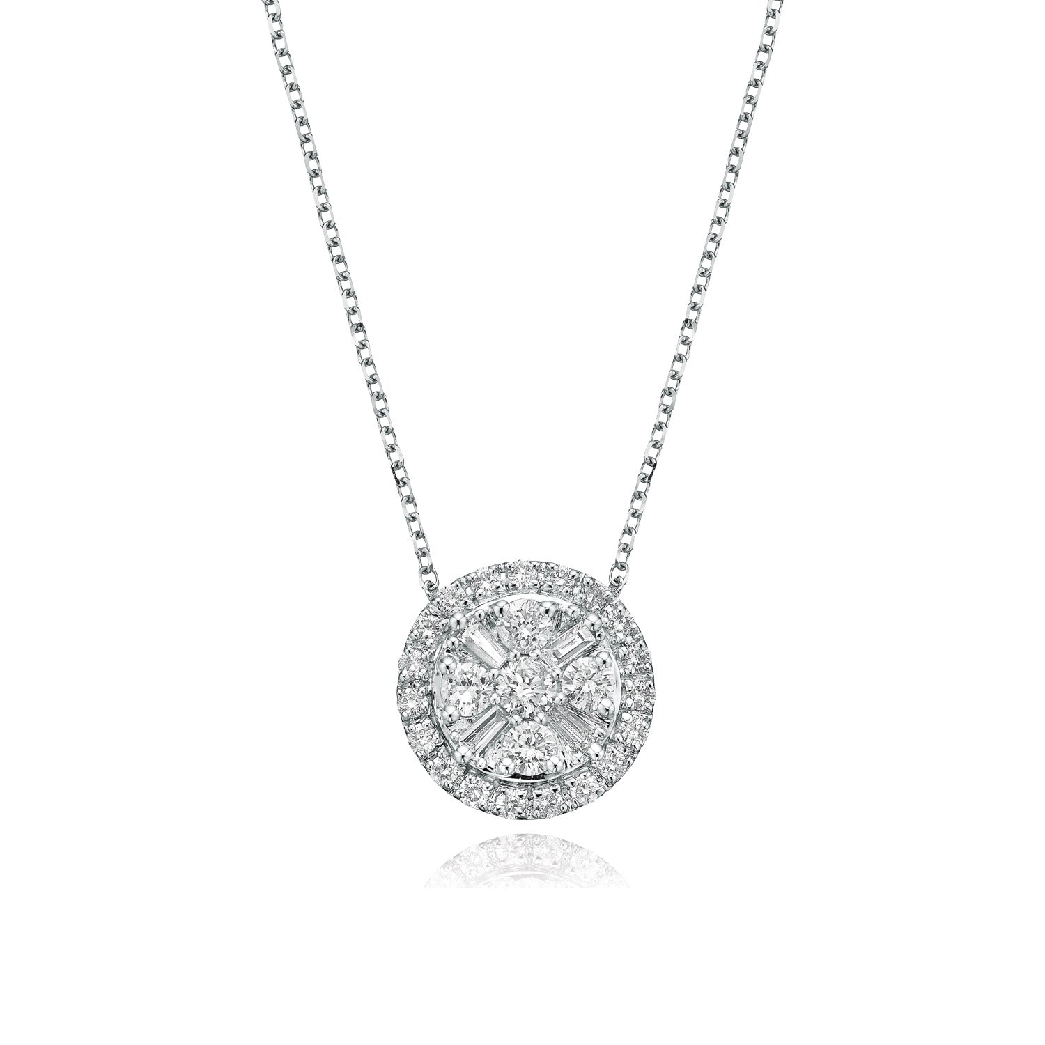9ct White Gold Round Brillant & Baguette Cut with 1/2 CARAT tw of Diamond Pendant