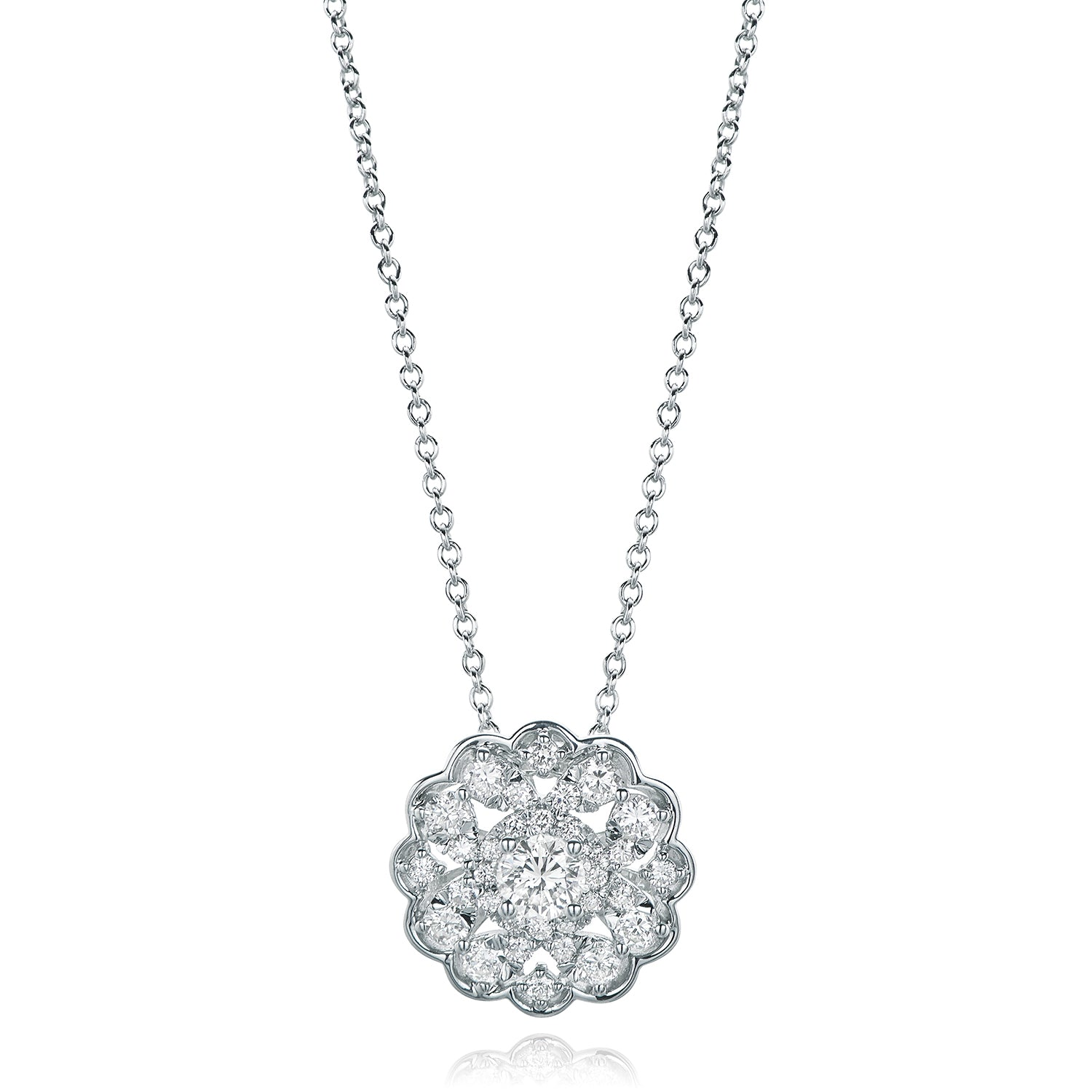 9ct White Gold Round Brilliant Cut with 1/2 CARAT tw of Diamond Pendant