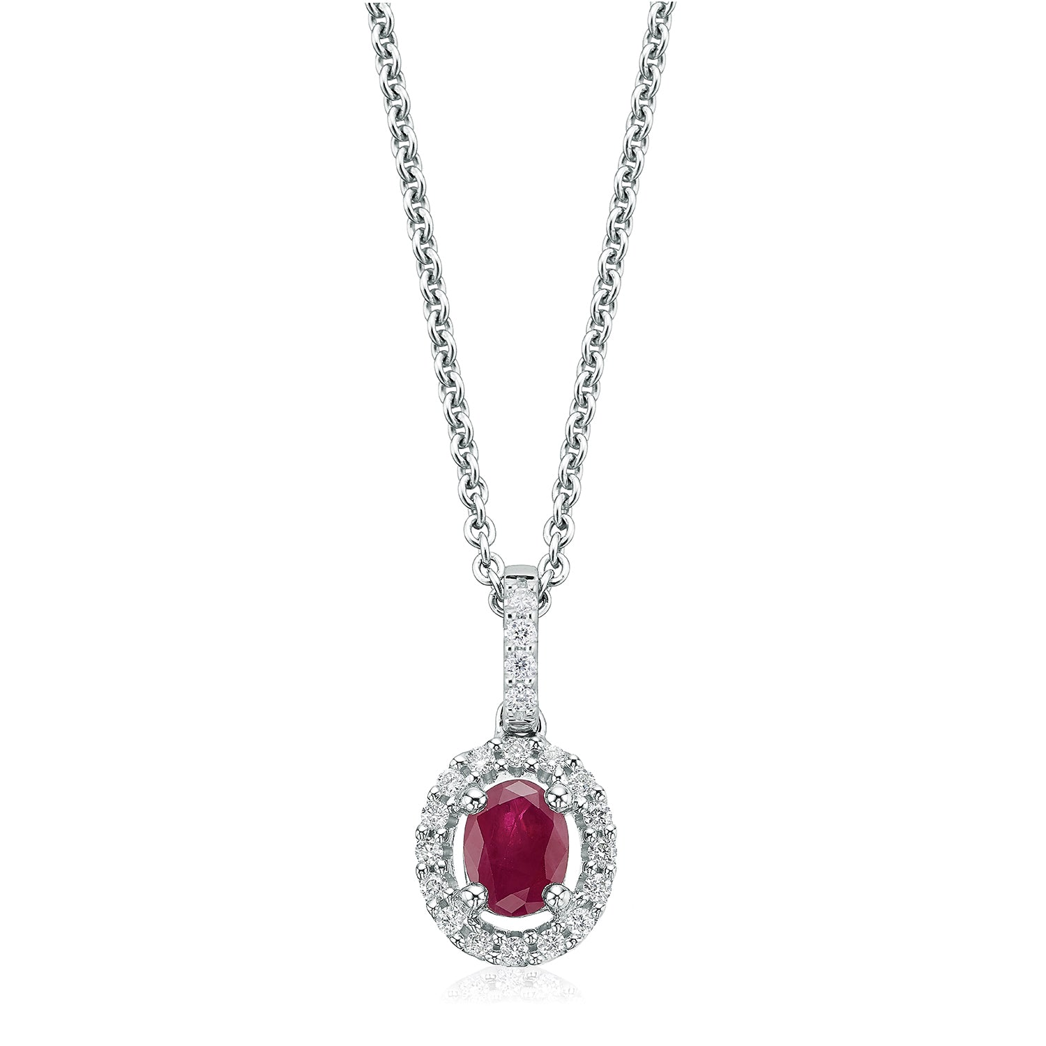 18ct White Gold Oval Cut Ruby with 0.10 CARAT tw of Diamond Pendant