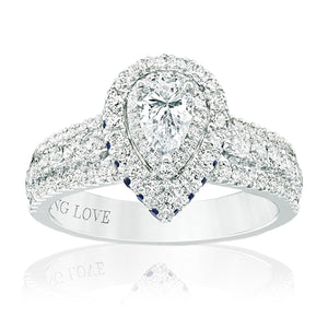 Vera Wang Love 18ct White Gold Pear & Round Brilliant Cut with 1 CARAT tw of Diamonds