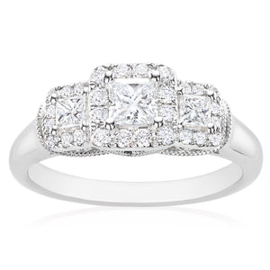 Vera Wang Love 18ct White Gold Princess & Round Brilliant Cut with 3/4 CARAT tw of Diamonds