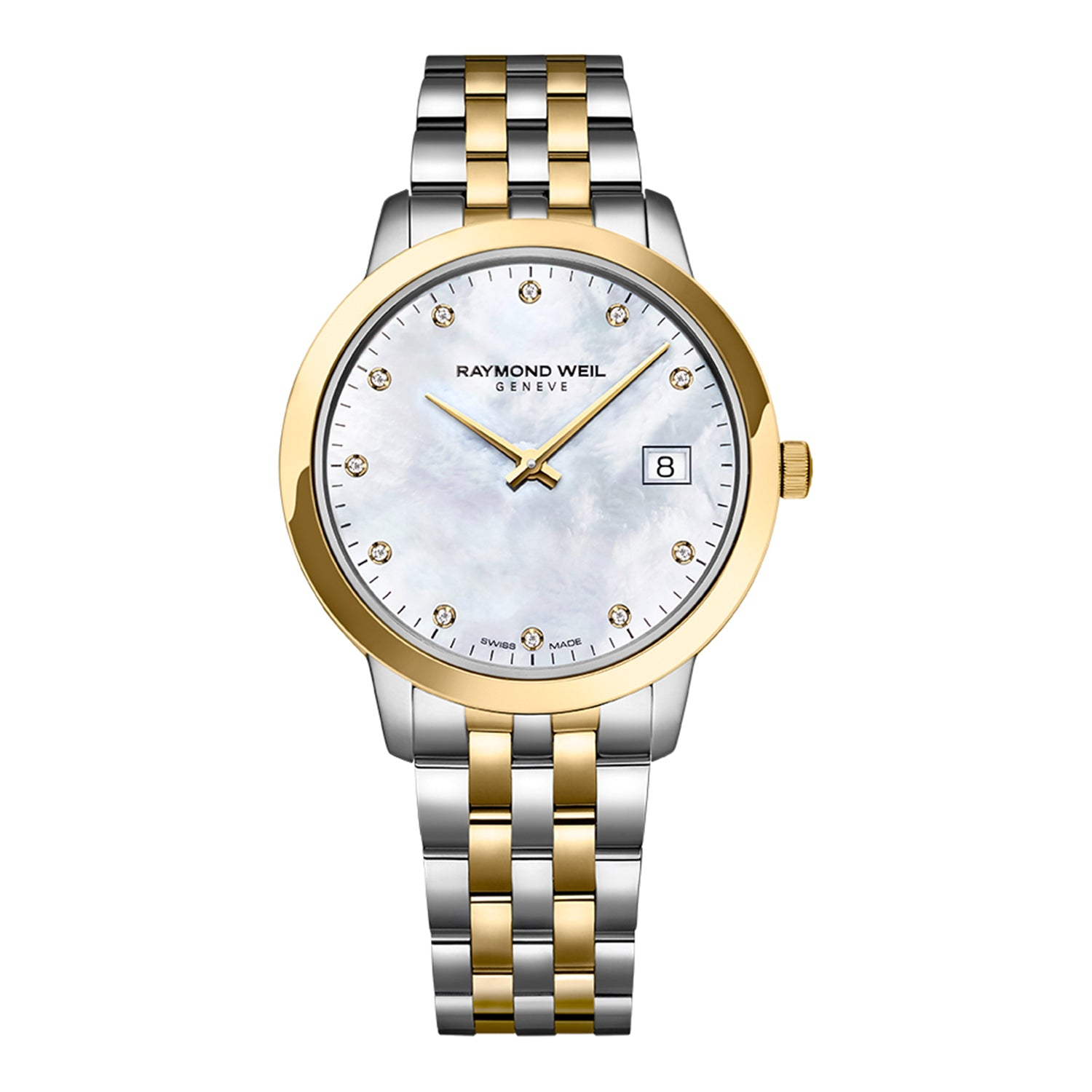 Raymond Weil Toccata Ladies Quartz Two-tone Gold 11 Diamond Watch, 34mm, white mother-of-pearl dial, 5385-STP-97081