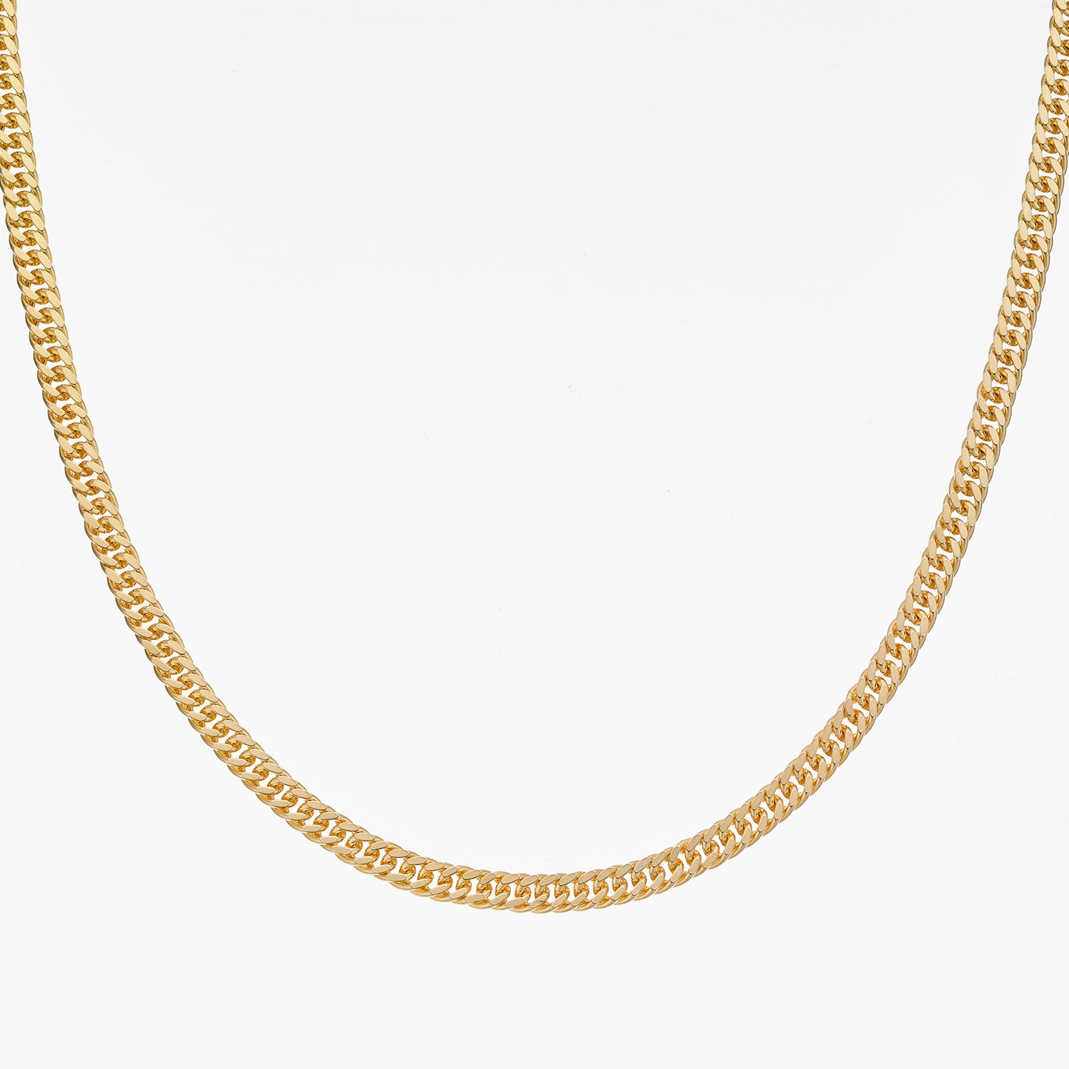18ct Yellow Gold 2.5mm Double Diamond Cut Curb in 55cm
