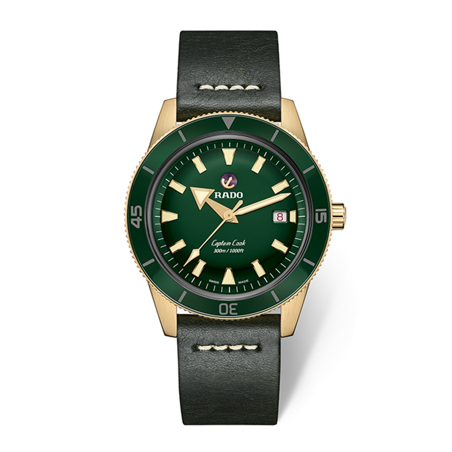 Rado Captain Cook Xlarge watch with Bronze Case, Green Dial with Leather Strap