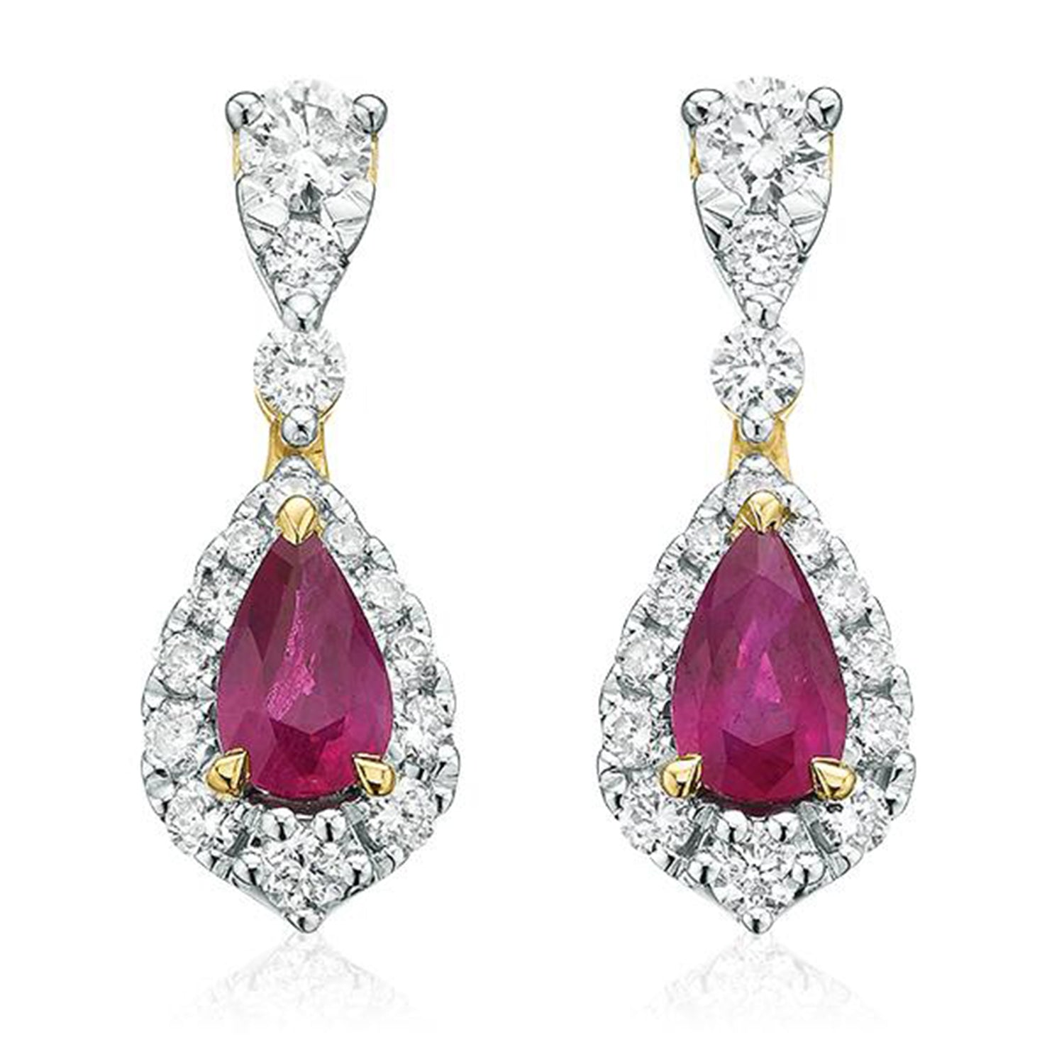 9ct Yellow Gold Pear & Round Brilliant Cut  0.30 CARAT tw of Diamonds Natural Ruby