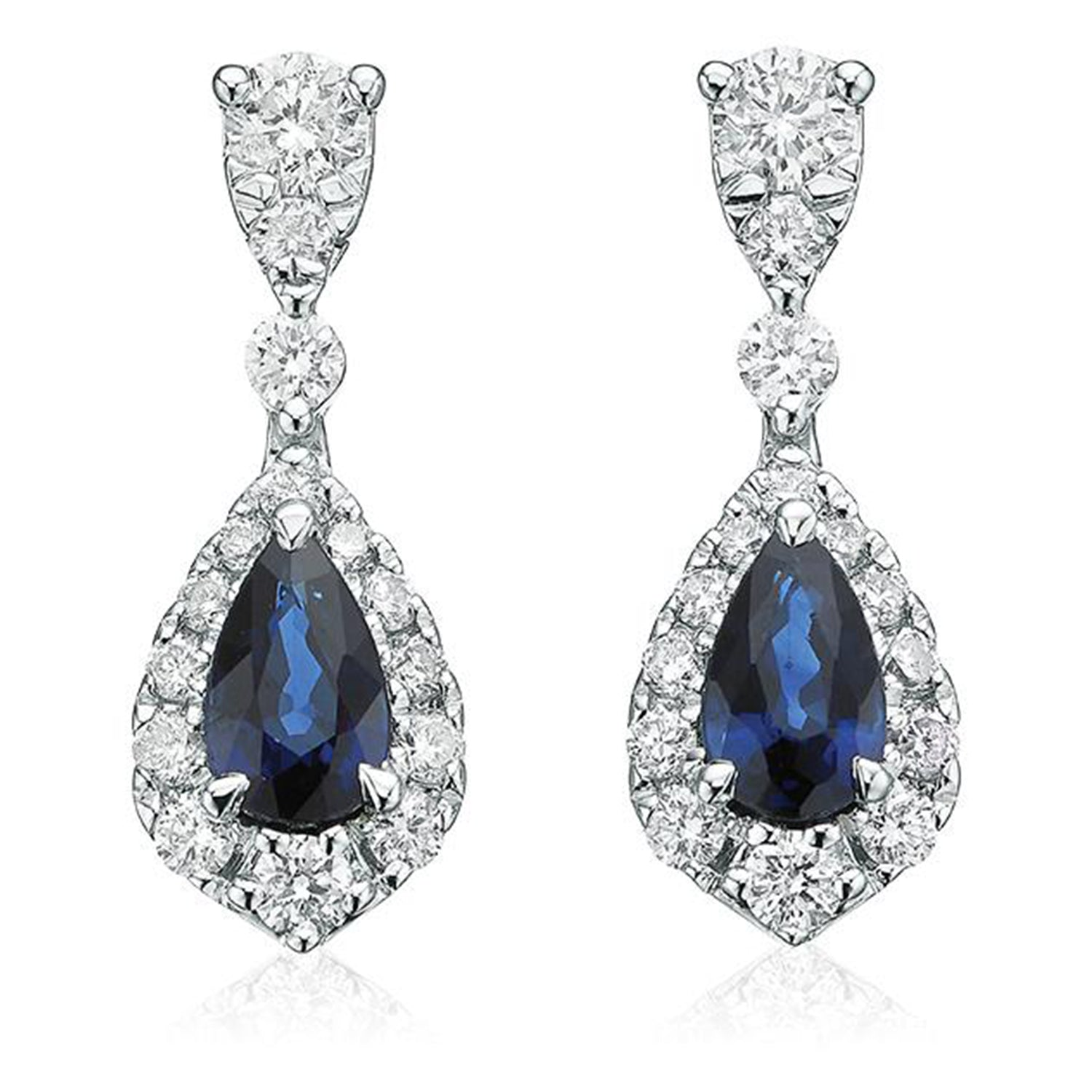 9ct White Gold Pear & Round Brilliant Cut  0.30 CARAT tw of Diamonds Natural Sapphire