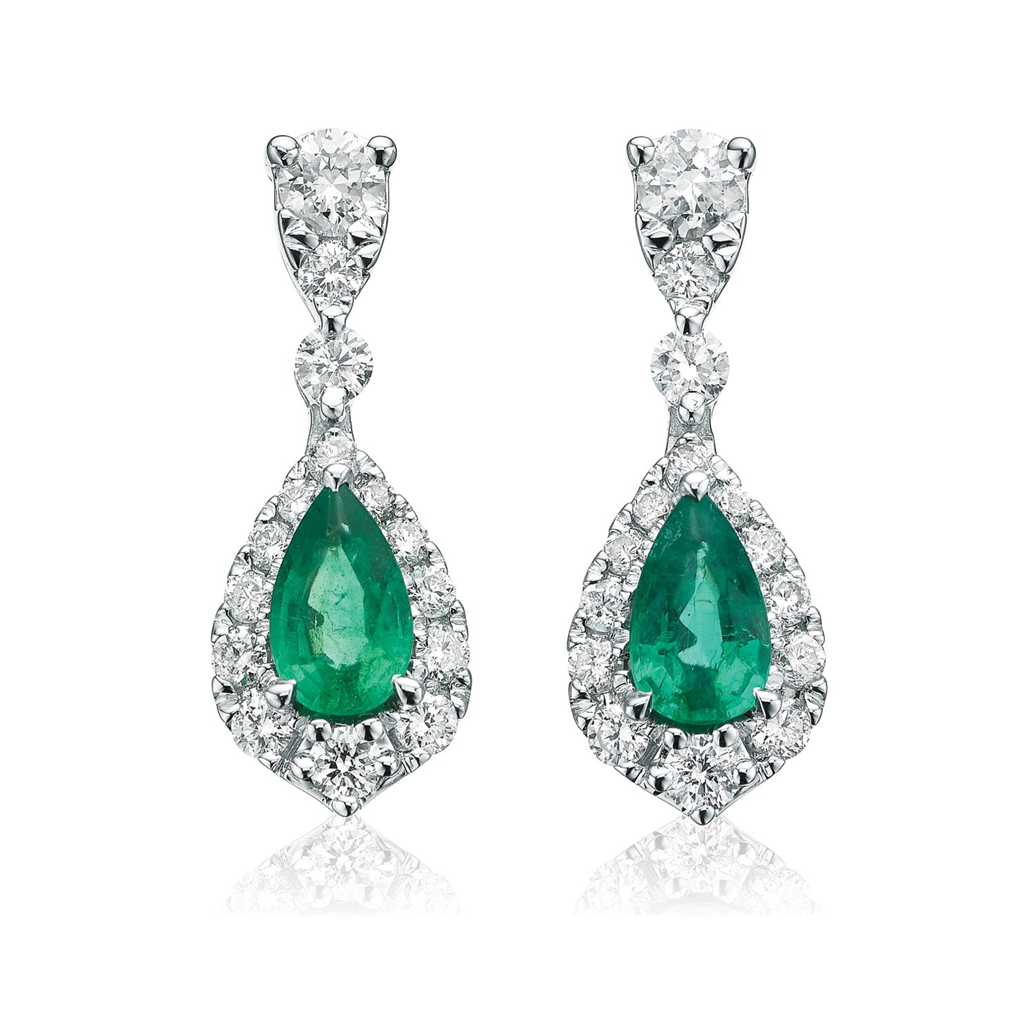 9ct White Gold Pear & Round Brilliant Cut  0.30 CARAT tw of Diamonds Natural Emerald