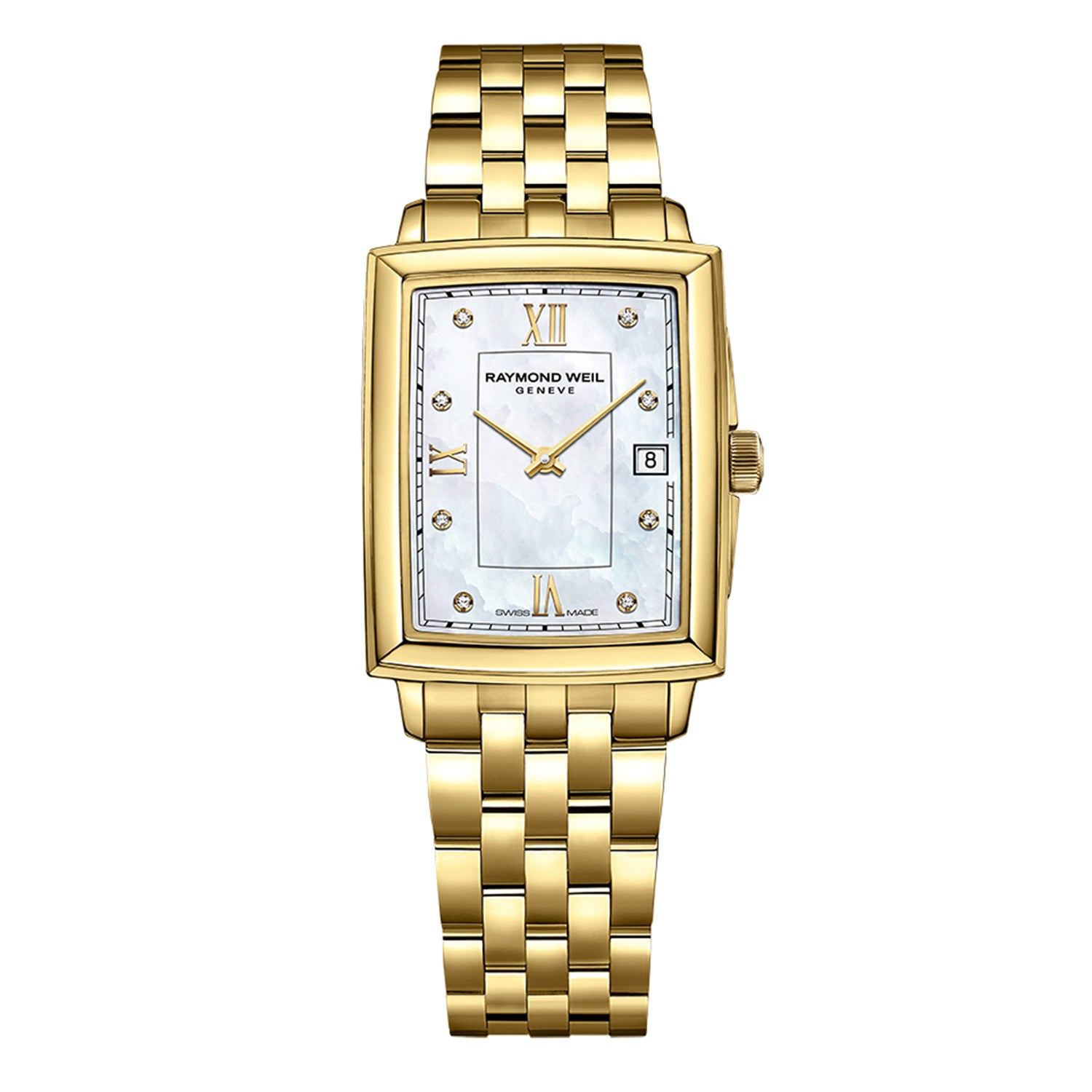 Raymond Weil Toccata Ladies Gold Diamond Quartz Watch, 23.4 x 34.6 mm, Mother-of-pearl dial, diamonds & roman numeral indexes, 5925-P-00995