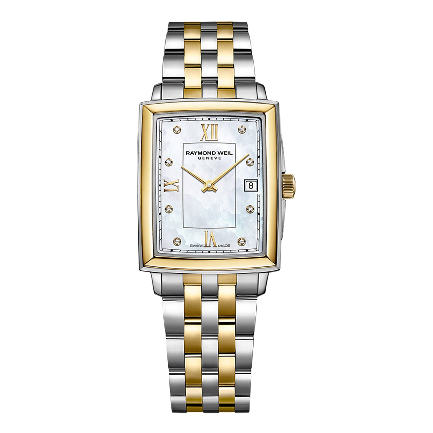 Raymond Weil Toccata Ladies Two-tone Diamond Quartz Watch, 23.4 x 34.6 mm Mother-of-pearl dial, diamonds & roman numeral indexes, 5925-STP-00995