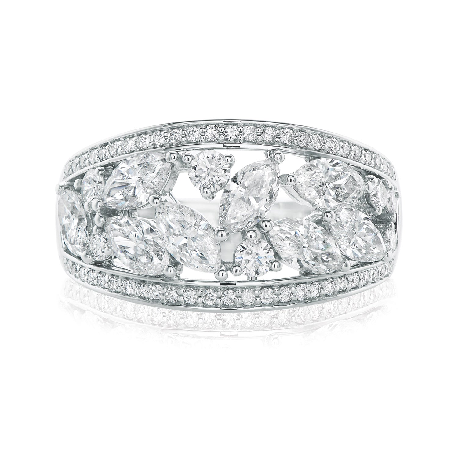 9ct White Gold Marquise & Round Brilliant Cut with 2 CARAT tw of Diamonds