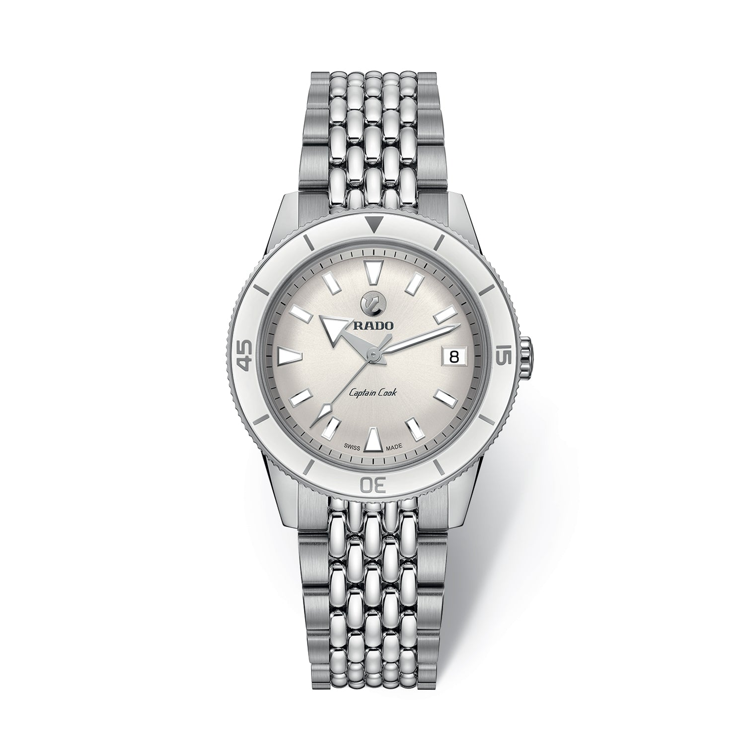 Rado Captain Cook Watch, white dial with brushed stainless steel bracelet R32500013