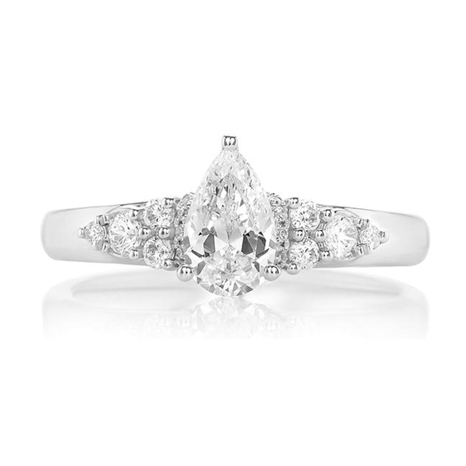 Promise 18ct White Gold Pear & Round Brilliant Cut with 1 CARAT tw of Diamonds